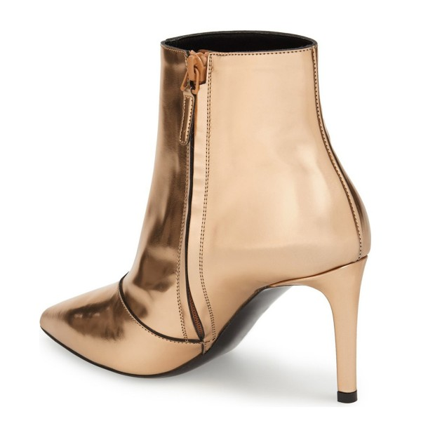 2017 Fall Gold 3 Inches Stiletto Boots Pointy Toe Ankle Boots image 4