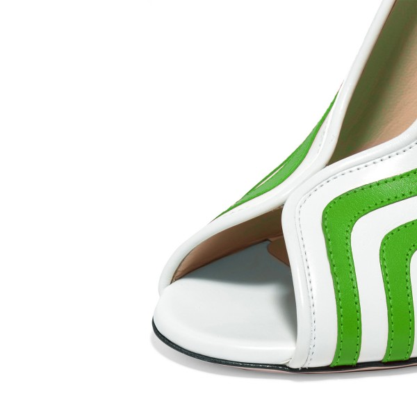 Women's Green and White Stripes Peep Toe Chunky Heels Shoes image 2