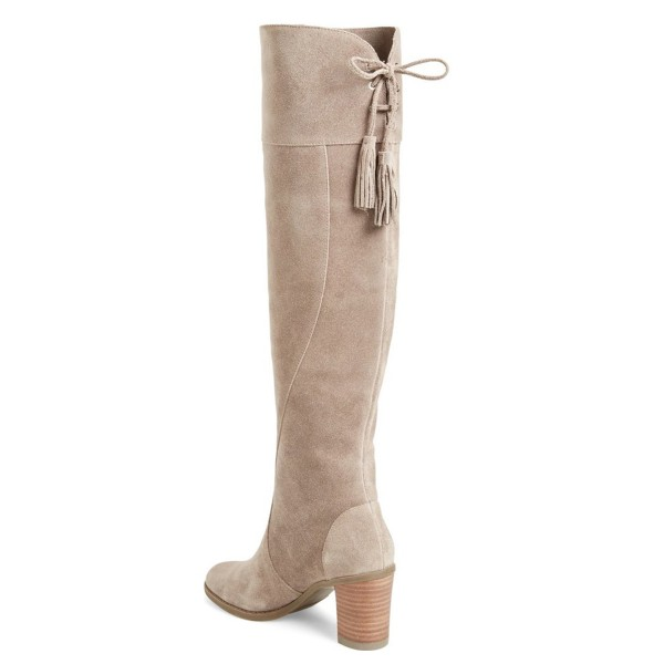 Women's Suede Light Grey Knee-high Boots Chunky Heel Boots by FSJ image 2