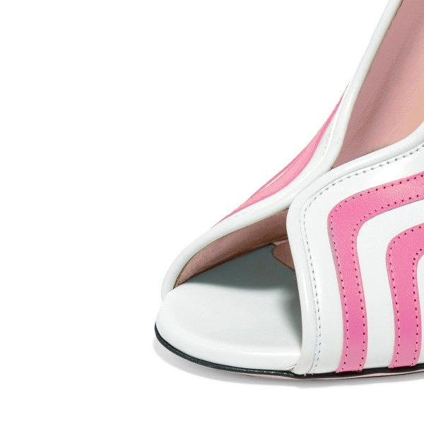 Pink Stripes Peep Toe Heels Block Heel Pumps image 3