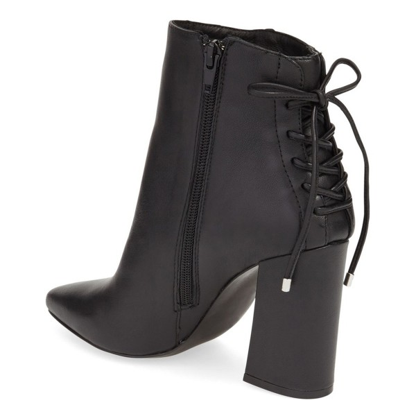 Black Chunky Heel Boots Pointy Toe Back Lace-up Ankle Booties image 2