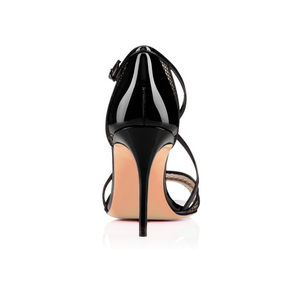 Women's Black Mesh Cross-Over Strappy Stiletto Heels Sandals image 5