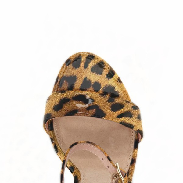 Women's Leopard Print Heels Ankle Strap Chunky Heel Sandals image 2