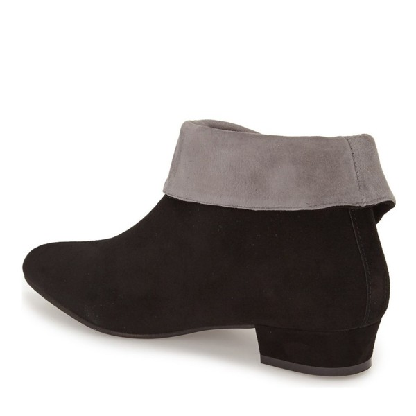 Black and Taupe Short Boots Low Heel Suede Fold-Over Boots image 2