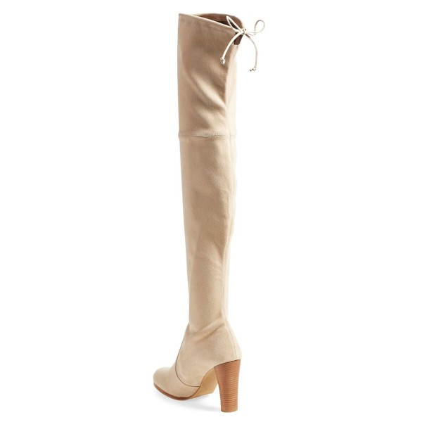 Beige Long Boots Suede Chunky Heel Thigh-high Boots image 3