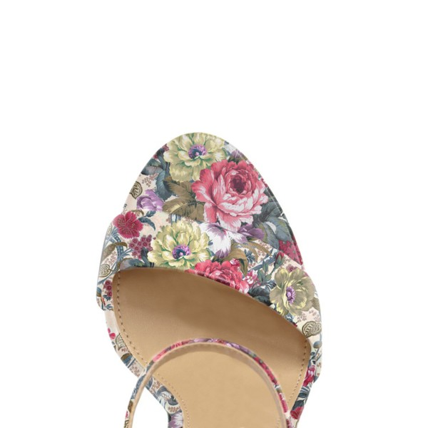 Floral Heels Ankle Strap Open Toe Women's Block Heel Sandals image 3