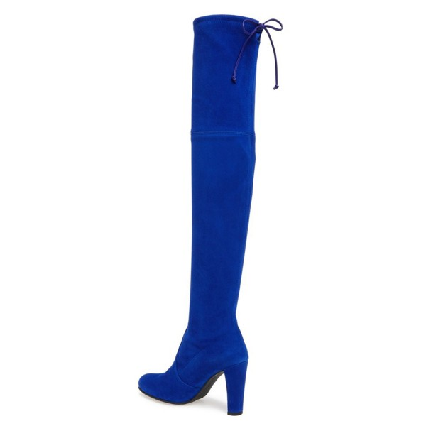 Cobalt Blue Shoes Chunky Heel Suede Thigh High Boots by FSJ image 3
