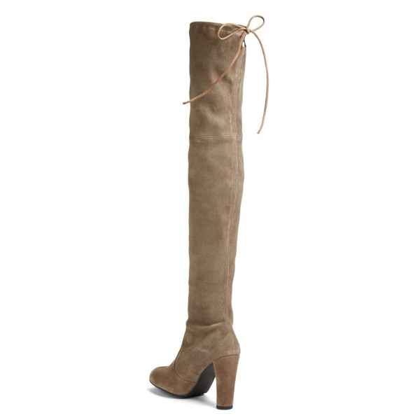 Khaki Chunky Heel Boots Round Toe Suede over-the-knee Boots image 3