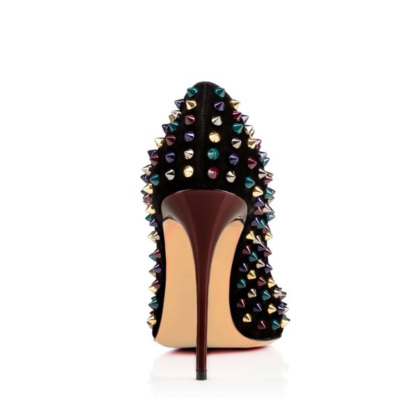 Black Suede Colorful Studs Shoes Stiletto Heel Rivets Pumps image 2