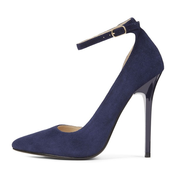 Navy Ankle Strap Heels Pointy Toe Suede Stiletto Heels Pumps image 3