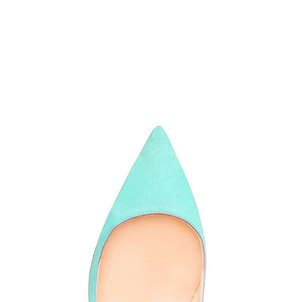 Turquoise Heels Pointy Toe Stiletto Heel Suede Pumps image 2