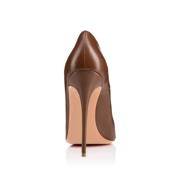 FSJ Brown Office Heels Pointy Toe Stiletto Heel Pumps for Work image 4
