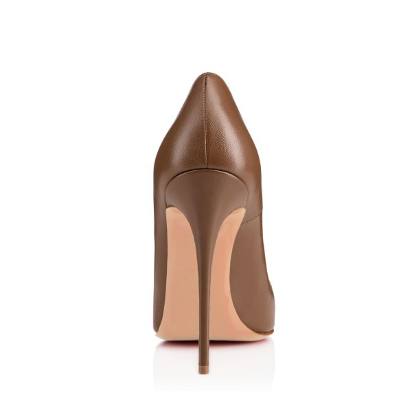 Brown Stiletto Heels Pointy Toe 4 Inch Heels Pumps for Women image 3