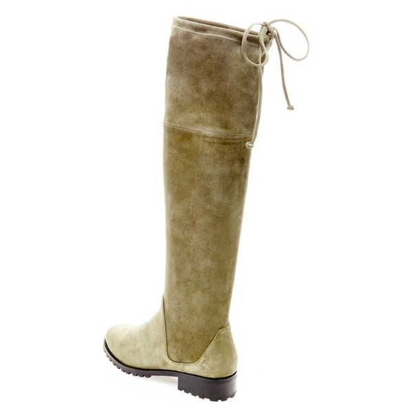 Vintage Green Long Boots Round Toe Flat Over-the-Knee Boots image 3