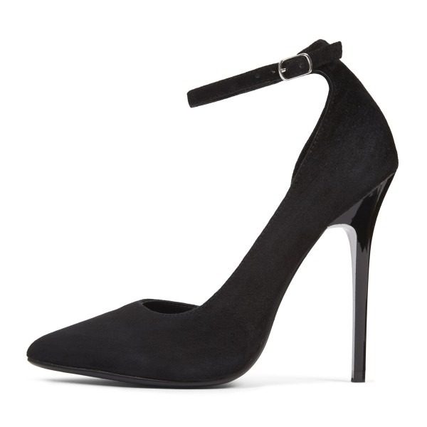 Black Ankle Strap Heels Suede Pointy Toe D'orsay Pumos for Office Lady image 2