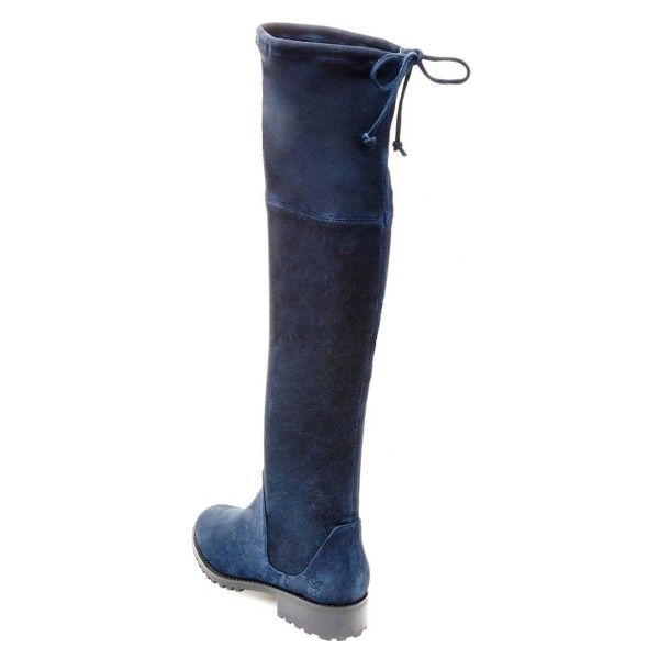 Navy Long Boots Round Toe Flat Suede Over-the-Knee Boots image 2