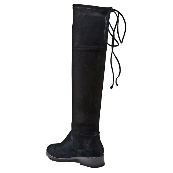 Black Fashion Long Boots Round Toe Flats Suede Knee-high Boots image 2