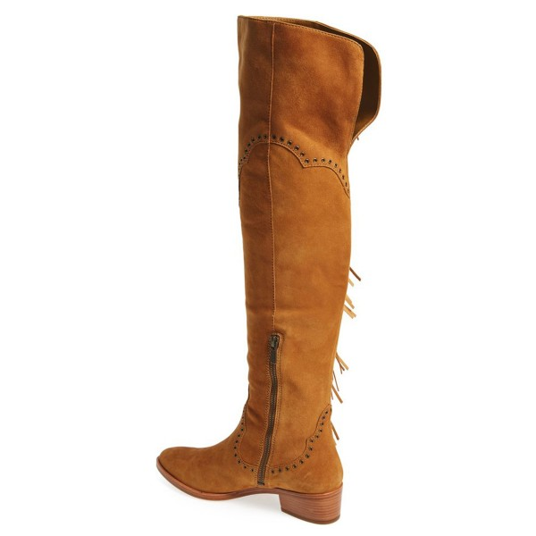 Tan Fringe Boots Fashion Suede Over-the-Knee Boots image 2