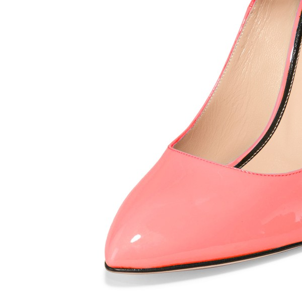 Women's Pink Patent Leather  Cone Heel Pumps Ankle Strap Heels image 2
