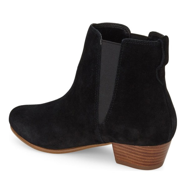 Black Vintage Boots Chelsea Boots Suede Round Toe Chunky Heel Comfortable Ankle Boots image 2