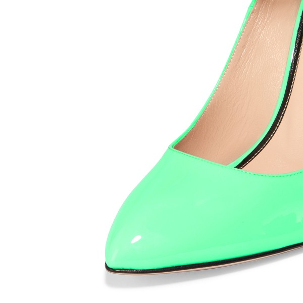 Green Ankle Strap Heels Pointy Toe Patent Leather Cone Heel Pumps image 2