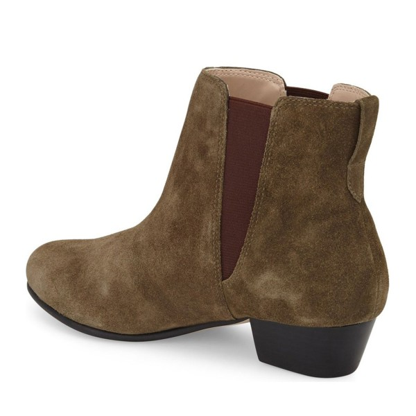 Women's Dark Brown Chelsea Boots Suede Ankle Chunky Heel Boots image 3