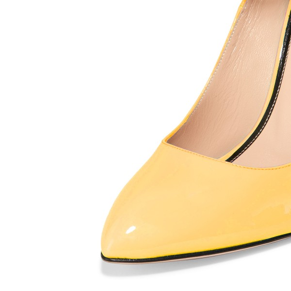 Yellow Ankle Strap Heels Closed Toe Cone Heel Pumps for Ladies image 3