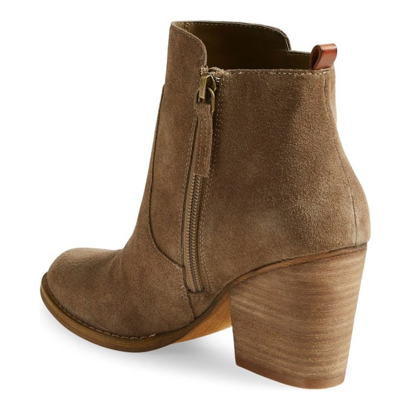 Women's Khaki Suede Low Chunky Heel Boots Round Toe Heels image 2