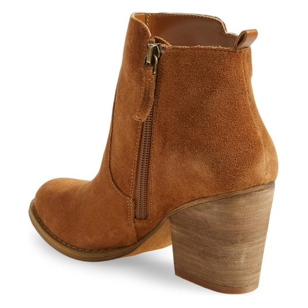 Tan Vintage Boots Suede Chunky Heel Ankle Booties for Female image 3