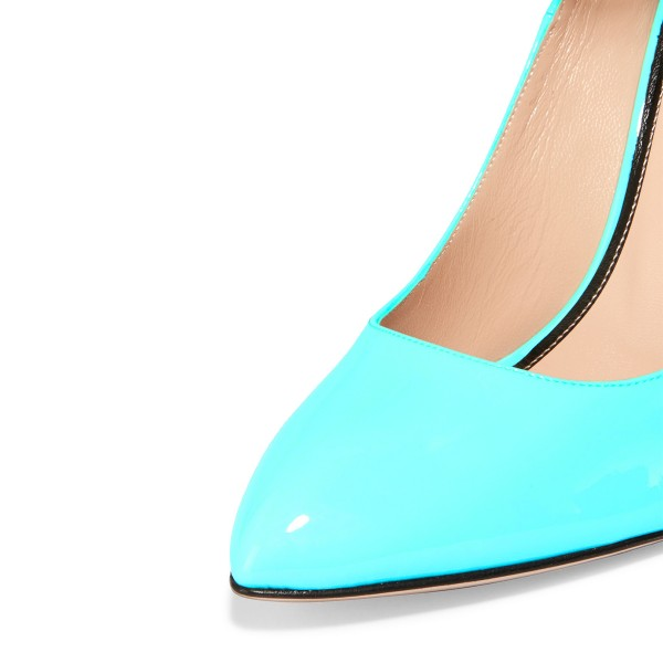 Aqua Shoes Patent Leather Cone Heel Ankle Strap Pumps by FSJ image 3
