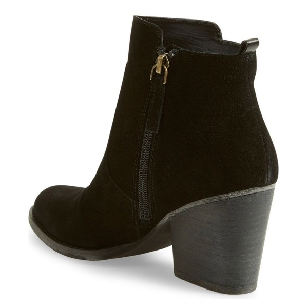 Suede Chunky Heel Boots Black Round Toe Comfortable Ankle Boots image 2