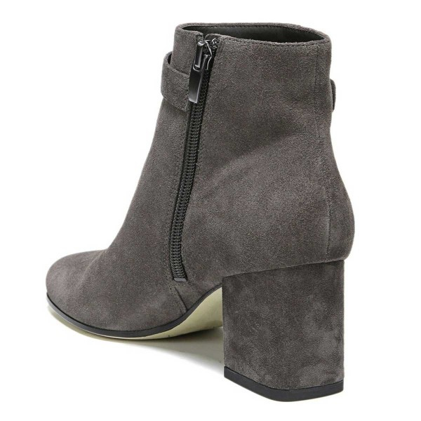 Women's Grey Side Suede Buckle Ankle Chunky Heel Boots image 3