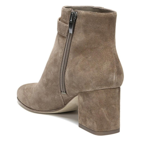 Brown Vintage Boots Chunky Heel Round Toe Suede Ankle Boots image 3