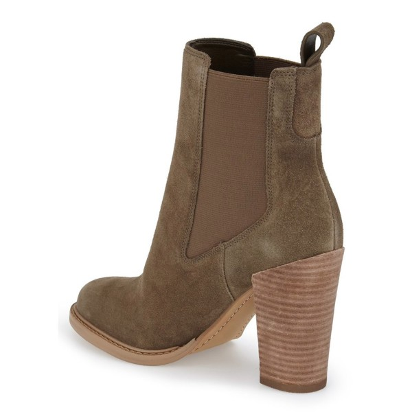 Women's Brown Suede Chelsea Boots Commuting Wooden Chunky Heels Boots image 3
