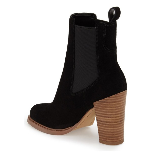 Black Chelsea Boots Wooden Chunky Heel Suede Ankle Boots for Work image 3