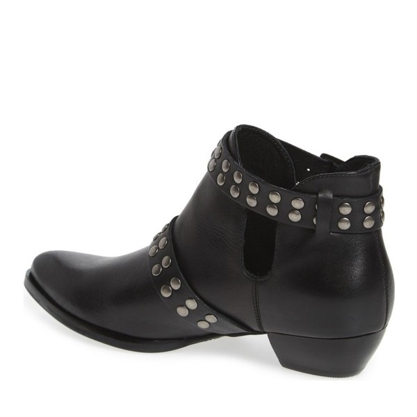 Black Fashion Boots Studded Buckles Motorcycle Boots image 2