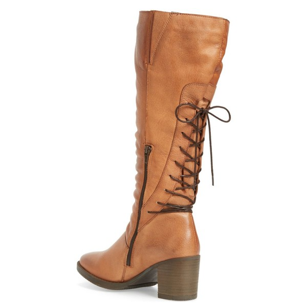 Tan Vintage Boots Block Heels Round Toe Back Lace-up Mid Calf Boots image 2