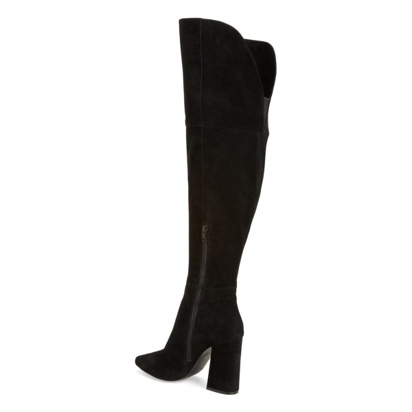 Black Long Boots Chunky Heel Pointy Toe Over-the-knee Boots image 3