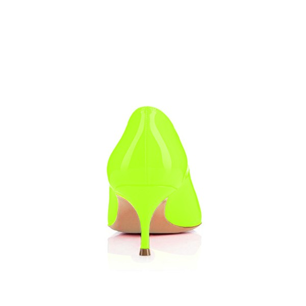 Neon Kitten Heels Patent Leather Pointy Toe Pumps image 2