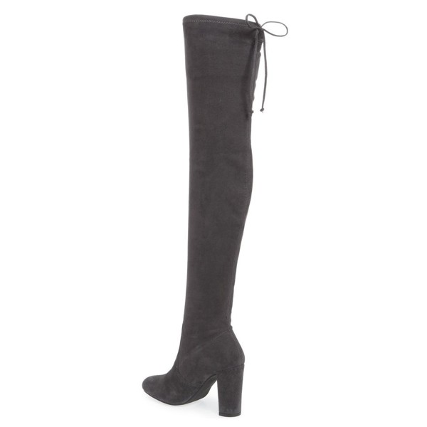 Dark Grey Suede Long Boots Chunky Heel Thigh-high Boots for Women image 3