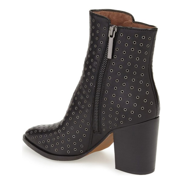 Black Chunky Heel Boots Round Toe Ankle Booties for Women image 2