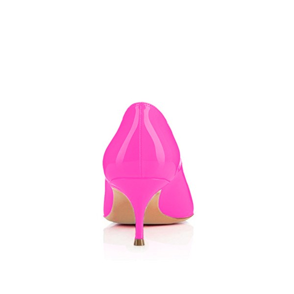 Hot Pink Kitten Heels Dress Shoes Pointy Toe Patent Leather Pumps image 2
