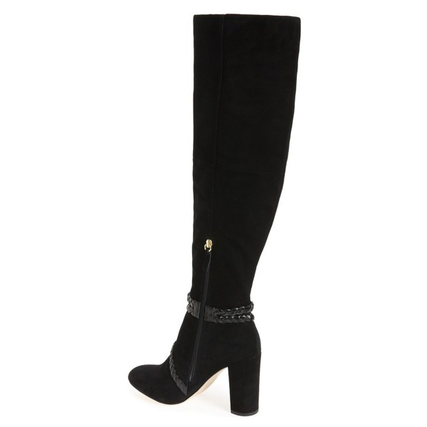Black Chunky Heel Boots Suede Round Toe Tassels Knee-high Boots image 3