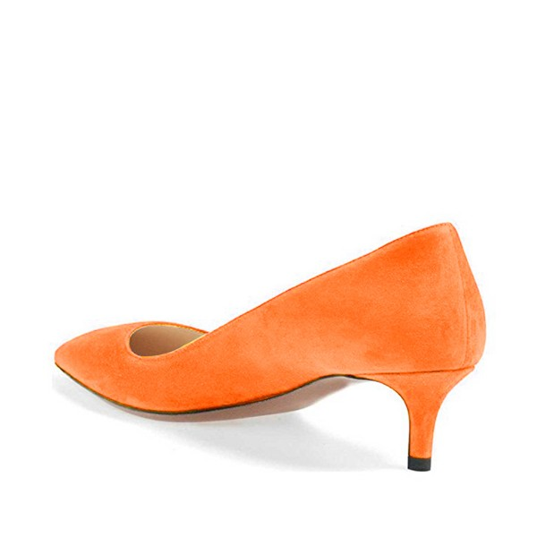 On Sale Orange Kitten Heels Pointy Toe Suede Pumps for Women image 3