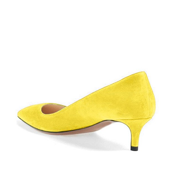 Yellow Kitten Heels Pointy Toe Suede Pumps Office Shoes image 3