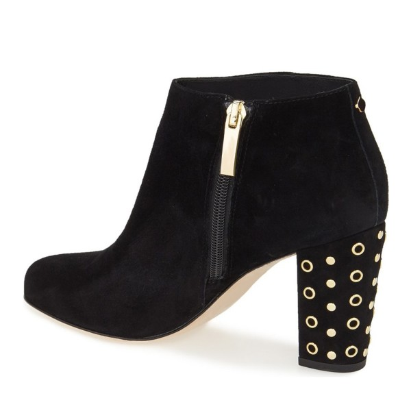 Black Chunky Heel Boots Round Toe Suede Ankle Boots with Gold Studs image 2
