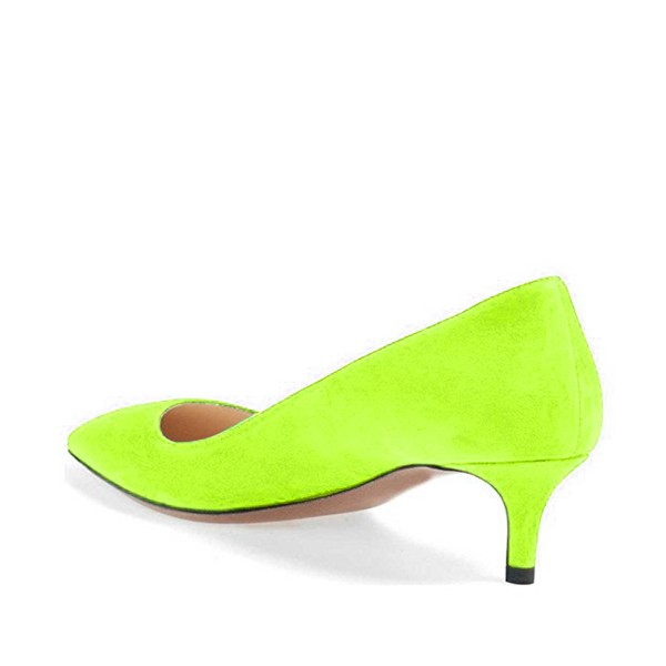 Lime Green Kitten Heels Pointy Toe Suede Pumps image 2