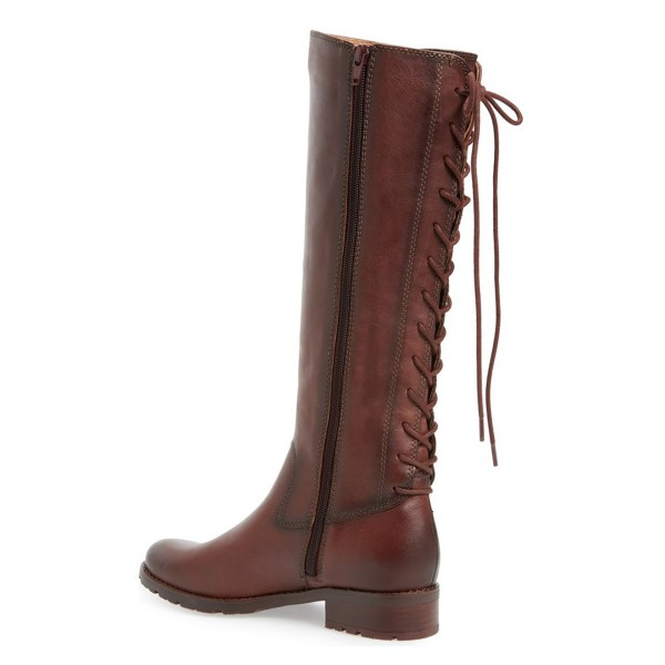 Brown Riding Boots Round Toe Back Lace up Vintage Knee Boots image 3