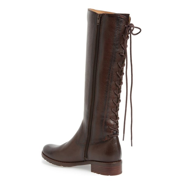 Brown Riding Boots Vegan Leather Round Toe Back Lace up Knee Boots image 2
