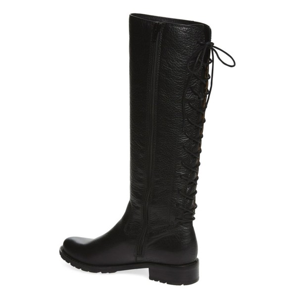 Black Vintage Boots Round Toe Knee-high Riding Boots image 3